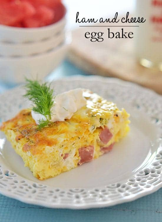 This Ham and Cheese Egg bake is super simple to make, is light and fluffy, and is great for entertaining or just a lazy Sunday brunch.