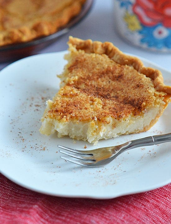Sugar Cream Pie is sweet and creamy and is accented with the rich flavors of vanilla and nutmeg. It's the perfect fall pie, and it is so easy to make!