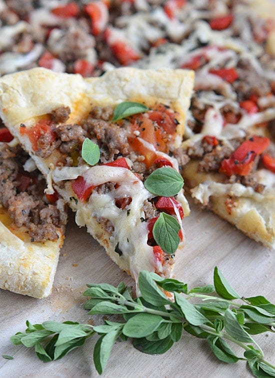 With just a few minutes and two ingredients, you can have this 5-Minute Pizza Crust on the pizza pan and ready for baking!