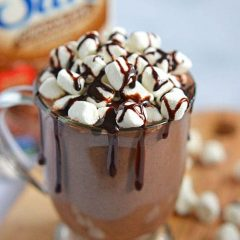 This Slow Cooker Double Hot Chocolate is thick and creamy and is perfect for a cool fall evening or winter's night. With a combination of Silk Chocolate Soymilk, half-and-half, sweetened condensed milk, and marshmallow cream, this warm beverage is a guilty indulgence you won't want to stop drinking!