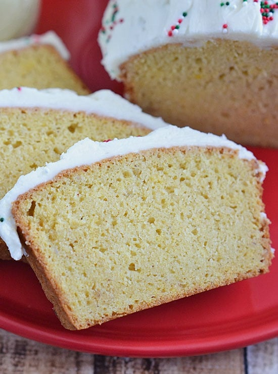 Packed with holiday flavors - eggnog, nutmeg, vanilla, and rum - this Rum Frosted Eggnog Bread is the perfect addition to your holiday breakfast table!