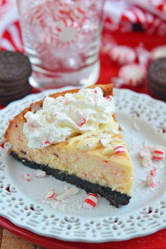 Mascarpone Cheese makes this White Chocolate Candy Cane Cheesecake extra creamy; the Oreo crust makes it extra decadent, and the candy cane topping makes it the perfect dessert for the holidays!