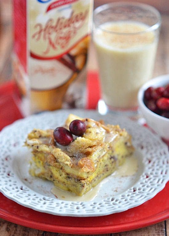 Make your holiday breakfast stress-free with this Slow Cooker Eggnog French Toast. Serve this perfectly spiced and decadent breakfast casserole with traditional maple syrup, or indulge with a drizzle of eggnog icing!