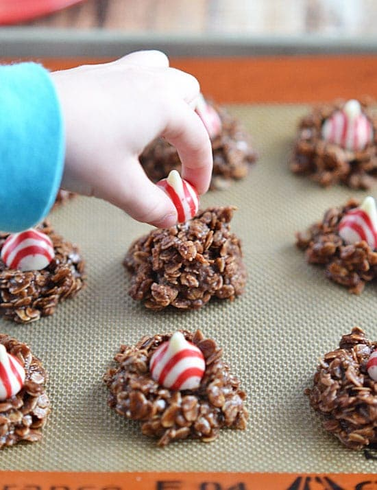 Take no-bake cookies to the next level with addition of peppermint extract and peppermint kisses - and with the addition of Horizon Organic whole milk, this is a holiday treat you won't feel guilty eating!