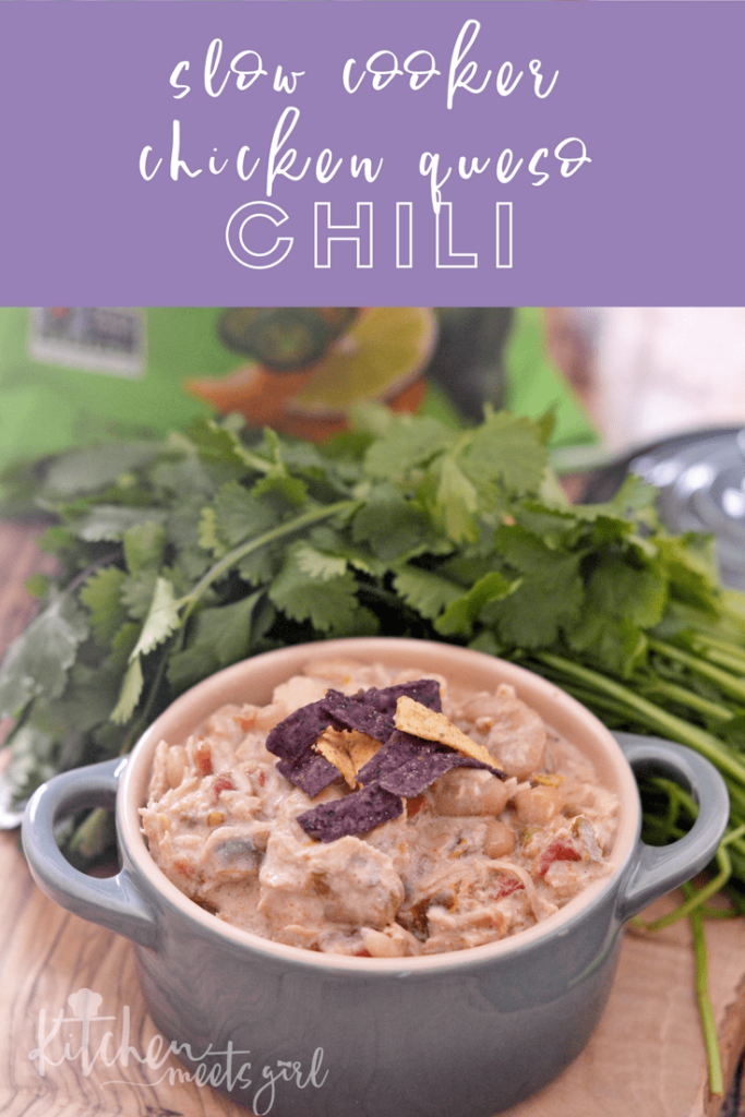 This Slow Cooker Chicken Queso Chili is everything you want in a bowl of wintery goodness - hearty eating that tastes like a cheesy queso without the guilt.  Even better - just throw the ingredients in your slow cooker and walk away, perfect for those busy nights.