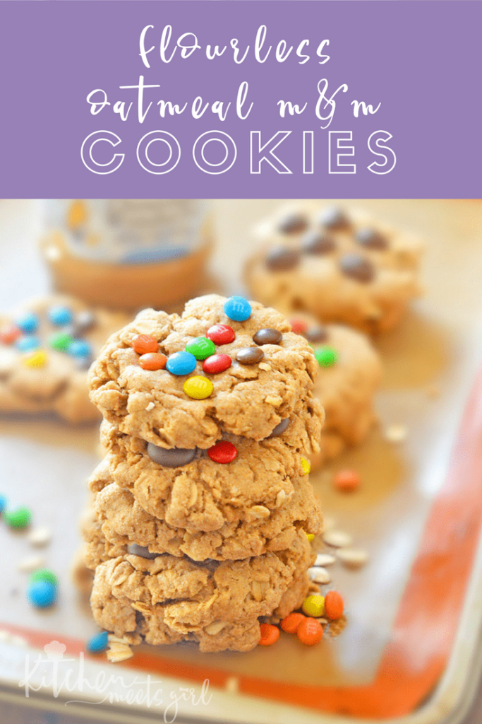 These Flourless M&M Oatmeal Cookies are perfect for packing in lunchboxes, munching on after school or work, and pack a nutritional wallop since they are packed full of oats and peanut butter. Believe me, you'd never guess these thick and chewy cookies are refined flour free!