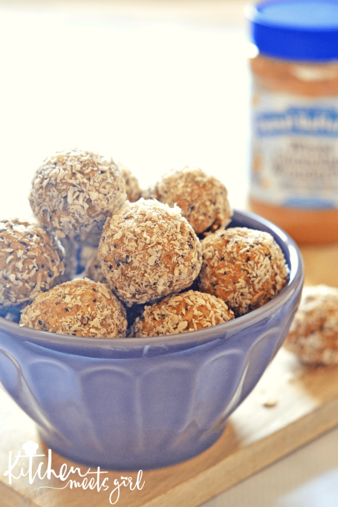 These Peanut Butter and Honey Energy Bites are loaded with everything you want in life: peanut butter, oats, honey, and coconut. Add some chia seed and ground flax for a nutritional bonus, and dark chocolate because it's yummy that way.