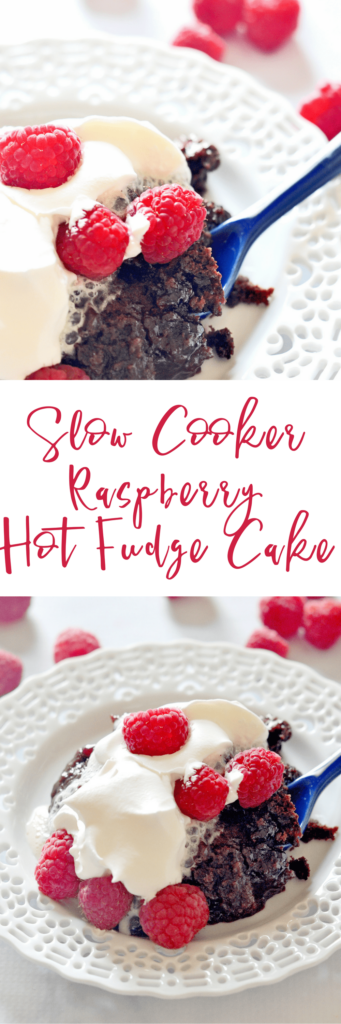 This Slow Cooker Raspberry Hot Fudge Cake is outrageously good – and it couldn't be any easier to make!  It's perfect for entertaining, or for a special celebration!
