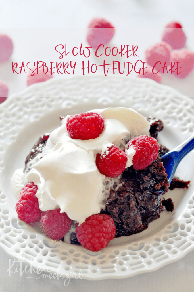 This Slow Cooker Raspberry Hot Fudge Cake is outrageously good – and it couldn't be any easier to make!It's perfect for entertaining, or for a special celebration!