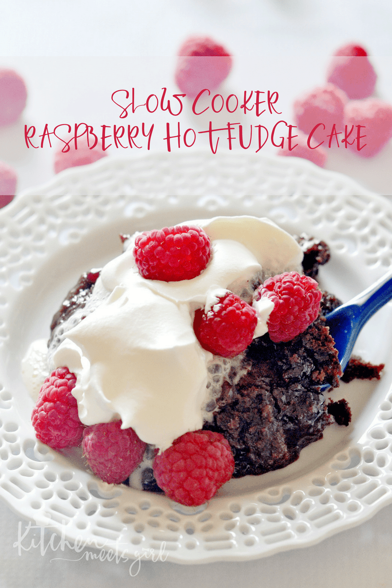 Slow Cooker Raspberry Hot Fudge Cake