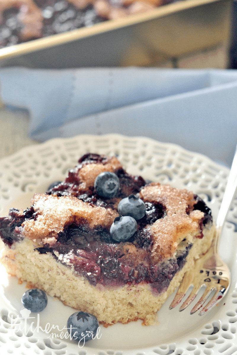 Tender, moist coffee cake, loaded with blueberries and crowned with a crunchy cinnamon sugar topping. Best of all, this blueberry coffee cake comes together in just one bowl.