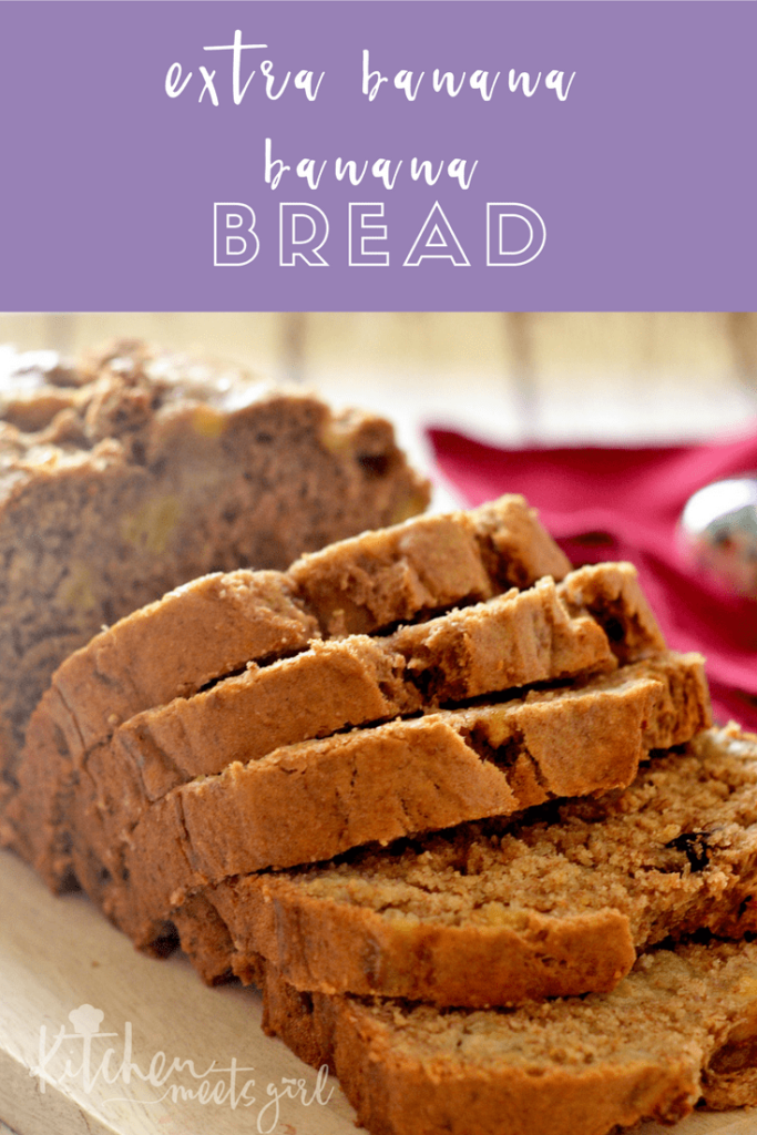 This Extra Banana Banana Bread lives up to its name!  Stuffed with a full five bananas, this bread is moist and rich and is perfect any time of the day.  It's perfect as-is, but try it lightly toasted with a smear of cream cheese for an extra special treat!