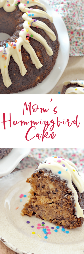My Mom's Hummingbird Cake is the perfect dessert for spring! Loaded with bananas, pineapple, pecans and cinnamon, and topped with a thick cream cheese frosting, this cake will be the highlight of your dessert table!