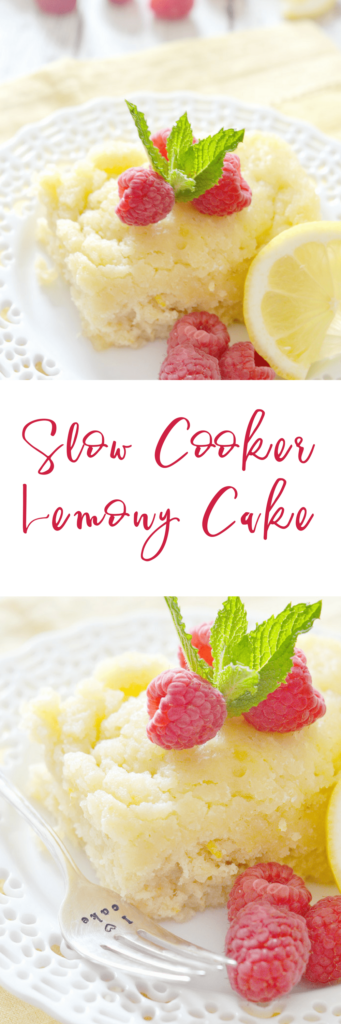 This Slow Cooker Lemony Cake is perfectly is the perfect combination of tangy and sweet.  Serve it warm right out of your slow cooker - you can garnish it with whipped cream and berries, but it's just as tasty on its own!