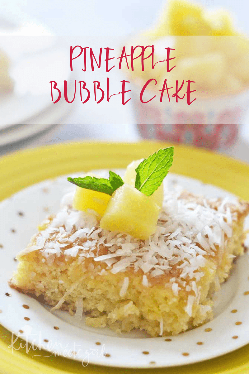 This Pineapple Bubble Cake uses crushed pineapple and pineapple juice to create a super moist, yet light and fluffy cake.  Topped with a bubbling sugary milk mixture and dusted with a sprinkling of coconut, this cake is the ultimate in tropical desserts!