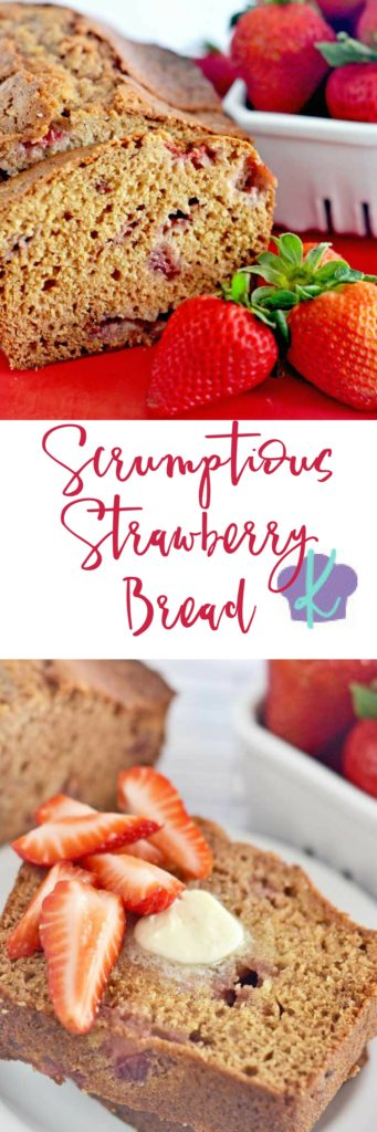 This Scrumptious Strawberry Bread is sure to become a family favorite.  It comes together in a snap, and it makes the perfect breakfast, snack, or dessert!  Since it uses frozen berries, you can enjoy this easy quick bread year round!