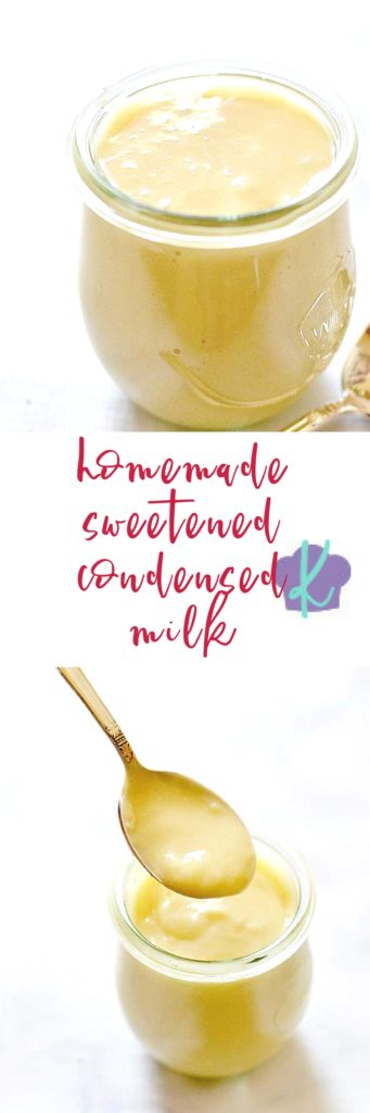 Have you ever wondered how to make homemade sweetened condensed milk? This recipe is super simple, uses only four ingredients, and produces a made from scratch sweetened condensed milk that you can use in baking, ice cream, hot chocolate and more!
