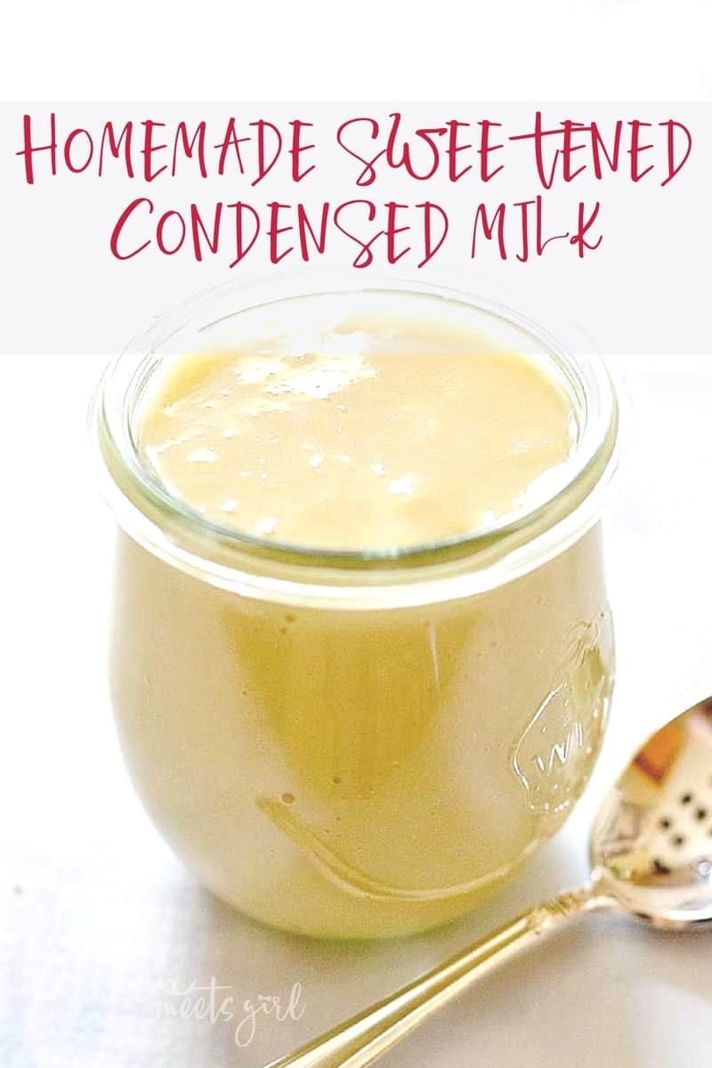 Have you ever wondered how to make homemade sweetened condensed milk? This recipe is super simple, uses only four ingredients, and produces a made from scratch sweetened condensed milk that you can use in baking, ice cream, hot chocolateand more!