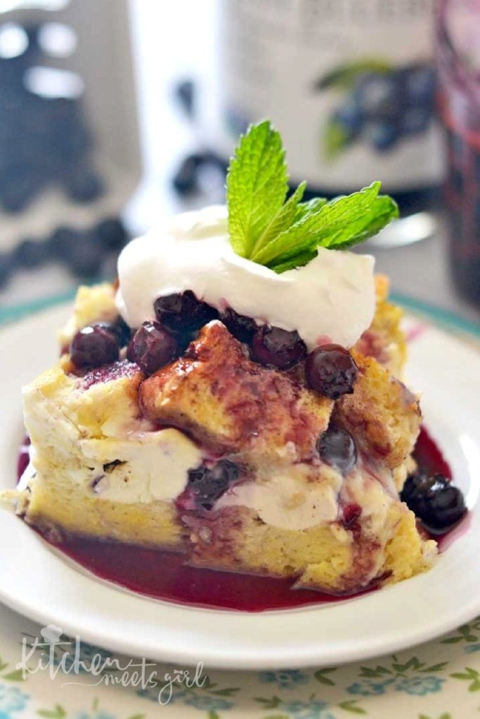Blueberry Drizzled French Toast - meet your new favorite special occasion brunch recipe. An easy overnight casserole with a blueberry syrup made with fresh blueberries and a special ingredient that takes this outrageously fantastic dish over the top!
