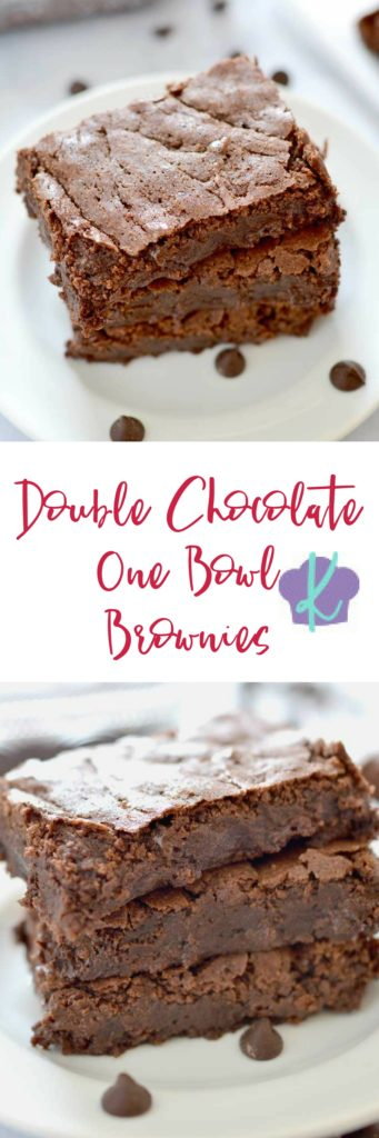 Double Chocolate One Bowl Brownies are a perfectly decadent treat that you won't be able to resist!  One bowl, five minutes, and a secret ingredient take these brownies over the top!