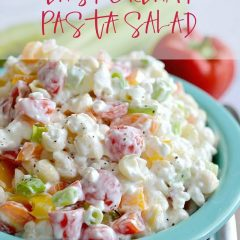 This Easy Creamy Pasta Salad is a simple and cool make ahead side dish for company or potluck. Bonus? It's a great way to get your veggies in!