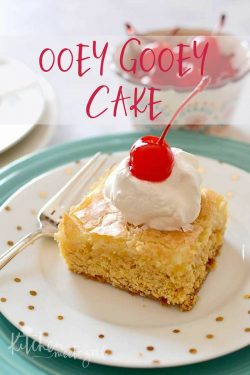 Ooey Gooey Cake is a rich, sweet butter cake topped with a cream cheese layer that bakes up - you guessed it - ooey and gooey.  This is one cake you won't be able to resist!