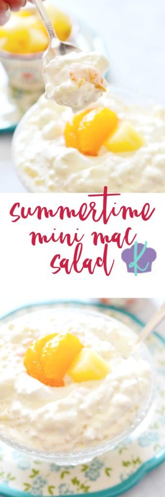 Need a side dish for those summer barbecues and potlucks that is sure to please? This Summertime Mini Mac Salad fits the bill - it's packed with mini semolina pasta, pineapple, mandarin oranges, marshmallows, Cool Whip,and a sweet dressing. Believe me: every bite is delicious!