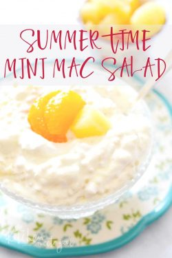 Need a side dish for those summer barbecues and potlucks that is sure to please?  This Summer time Mini Mac Salad fits the bill - it's packed with mini semolina pasta, pineapple, mandarin oranges, marshmallows, Cool Whip, and a sweet dressing.  Believe me: every bite is delicious!