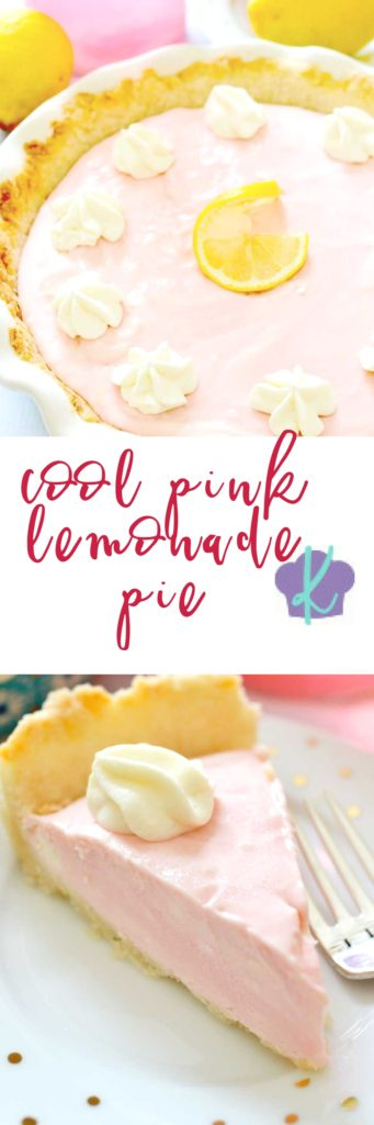 Cool Pink Lemonade Pie is just perfect for those hot summer days.  This creamy treat combines pink lemonade concentrate, cream cheese, sweetened condensed milk, and Cool Whip for a perfectly tart and fluffy pie.  You'll feel like a kid at a lemonade stand - only you'll be using a fork, not a straw!